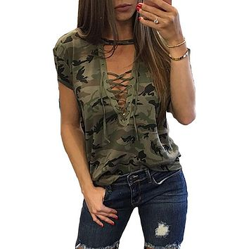 Lace Up Deep V-Neck Short Sleeve Camouflage Tees