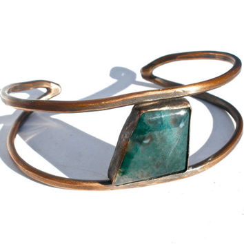 Moss Agate and Copper Cuff- Deep Mossy Green Stone- Adjustable from Women's Small to Large or Men's Small to Medium