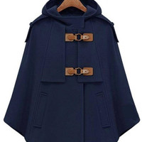 Pin Buckle Wool Hooded Cape