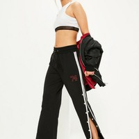 Missguided - Black Popper Side Logo Detail Joggers