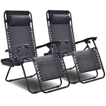 Goplus 2PC Zero Gravity Chairs Lounge Patio Folding Recliner Outdoor
