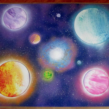 galaxy spray paint art,galaxy painting,space decor,space poster,large space wall art,24*30,room decor,original
