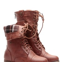 Tan Faux Leather Fold Over Plaid Combat Boots @ Cicihot Boots Catalog:women's winter boots,leather thigh high boots,black platform knee high boots,over the knee boots,Go Go boots,cowgirl boots,gladiator boots,womens dress boots,skirt boots.