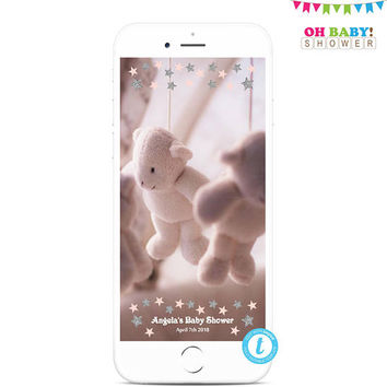 Snapchat Filter, Snapchat Filter Templett, Snapchat Filter Template, Geofilter Baby Shower Girl, Pink and Silver Personalized Geofilter STPS