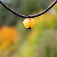 Apple Necklace Yellow Amber Pendant Teacher gift Leather Necklace Fruit Harvest Sun Warm Eco friendly Fall Necklace End of Year