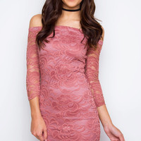 Adrian Lace Dress - Mauve