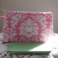 Wedding Clutch Wristlet Zipper Gadget Purse Pouch in Pink and White Damask Bridal