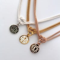 Monogrammed Square Knot Necklace {Sterling Silver, Gold, Rose Gold}