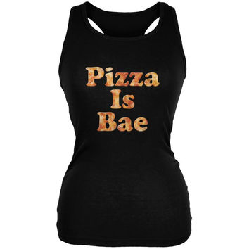 Pizza Is Bae Black Juniors Soft Tank Top