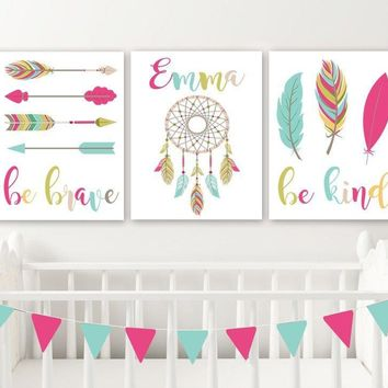 Girl BOHO Nursery Decor, Baby Girl Boho Nursery Wall Art, Boho Nursery Feather Arrows Be Brave Be Kind Set of 3 Boho Nursery Canvas or Print