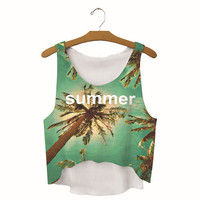 Womens Coconut Tree Summer Printed Show Hilum Tank Top Sports Vest Summer Gift - 08