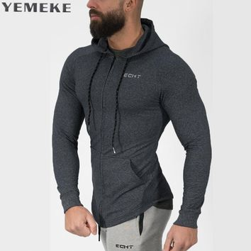 Men cotton Hoodies Fashion Casual Zipper sweatshirt male gyms fitness Bodybuilding workout sportswear Hooded Jacket clothing