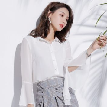 Sexy Long Sleeves Button Up Closure Blouse