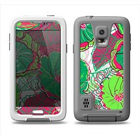 The Vibrant Green & Coral Floral Sketched Samsung Galaxy S5 LifeProof Fre Case Skin Set