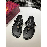 Tory Burch black Women Patent Leather Flip Flops Thong TB Flats Sandals, Female Designer Rubber Sole Miller Loafers Girls Ladies Slippers