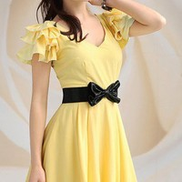 Little Miss Sunshine Dress. Sunshine Yellow Ruffles Sleeves Dress