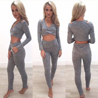 Women Crop Tops Long Pants Clothing Set Sexy Party Club wear Tracksuit Jumpsuit Long Sleeve V Neck Two Piece Crop Top Pant Set