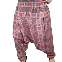 Mogulinterior Harem Pant Pink Om Printed Cotton Yoga Hippie Alibaba Gypsy Pant Jumper