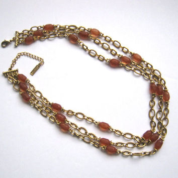 Triple Strand Necklace, NAPIER Necklace, Gold Tone Chain, Carnelian Colour Beads, Vintage Necklace, Signed Napier Jewelry, Accessories Women