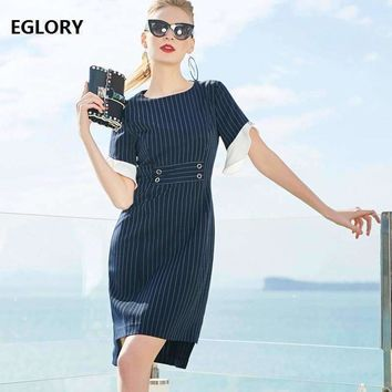 Formal Office Dress New Korean Style 2018 Spring Work Business Women Striped Print Dress Slim Pinup Ladies Asymmetrical Dress OL