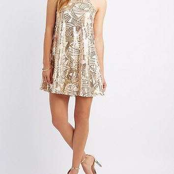 Sequins Bib Neck Shift Dress | Charlotte Russe