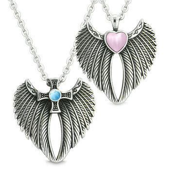 Angel Wings Heart Cross Love Couple or Best Friends Pink Simulated Cats Eye Simulated Turquoise Necklaces
