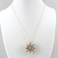 Antique Victorian 14K Diamond and Pearl Pendant Pin Early 1900s Starburst Sunburst Necklace Brooch Yellow Gold Fine Jewelry