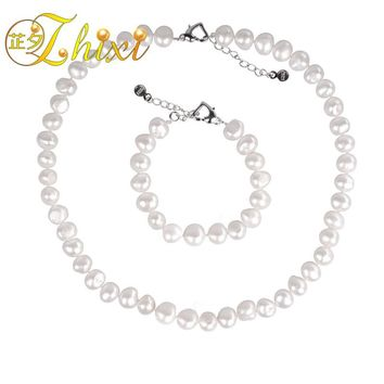 [ZHIXI] Pearl Jewelry Set Natural Pearl Necklace Bracelet Choker Necklace Genuine White Freshwater Fine Jewelry For Women st23