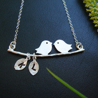 Initial Necklace Bird Necklace STERLING SILVER by DanglingJewelry