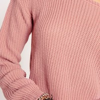 Missguided - Off Shoulder Cropped Jumper Pink