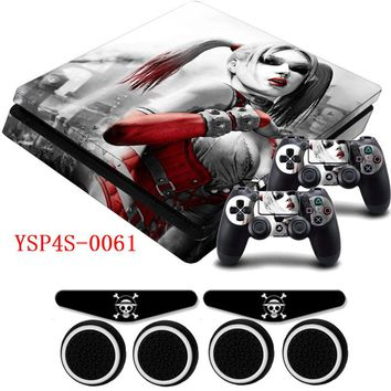 Girl Vinyl HD Picture Portective Sticker Decal &2 Gamepad Skins+2xLED Stickers For Dualshock PS4 Slim Playstation 4 Slim Console