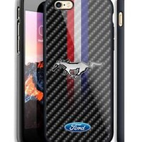 Ford Mustang Emblem Carbon Stripe Hard Case For iPhone 6 6s 7 8 Plus X Cover +