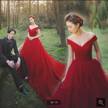 2016 wine ball gown off the shoulder pleated prom dress princess puffy long prom gowns chapel train cheap bride dresses