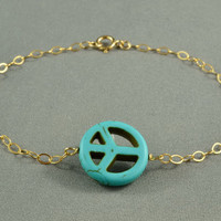 SALE:Turquoise Peace Sign Bracelet, 14K Gold Filled Chain, Simple, Delicate