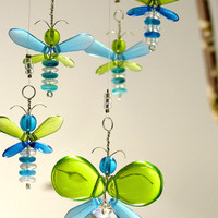 Blue Butterfly Mobile Baby Boy Hanging Mobile Green Fairy Decor Glass Mobile Swarovski Crystal Suncatcher Angel Australia Gift Nursery Idea