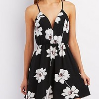 SLEEVELESS SWEETHEART FLORAL PRINT DRESS
