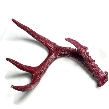 Painted Deer Antler Home Decor, Red Painted Deer Antler, Deer Antler Decor