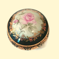LIMOGES Trinket Box Pink ROSE Porcelain Jar FRANCE Vintage Wedding Ring Proposal Presentation Gift Jewelry Blue Gold Gilt Leaf Hand Painted