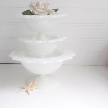 Milk Glass Candy Dishes Wedding Dessert Table
