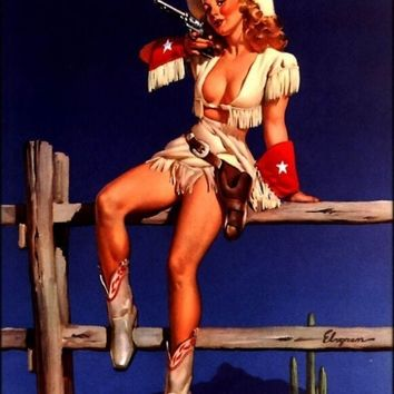 50 OFF PinUp SALE Elvgren  CowGirl with Colt by VANGUARDGALLERY