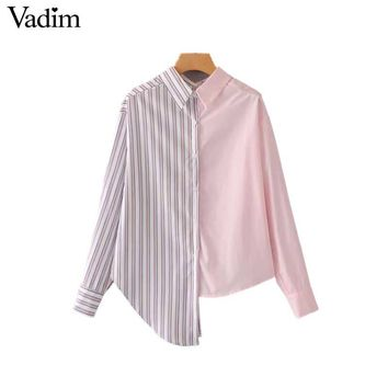 Vadim women asymmetrical striped patchwork loose blouse irregular design long sleeve shirts female casual oversized tops LA313