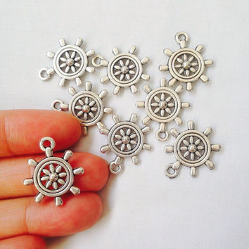 5 Boat Steering Wheel Charms Double Sided Antique Silver Tone