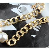Shiny Gift Stylish Jewelry New Arrival Korean Chain Scales Pearls Rhinestone Pendant Gold Necklace [6586377159]