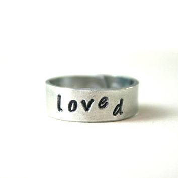 Silver hand stamped wrap Loved ring by JustJaynes on Etsy