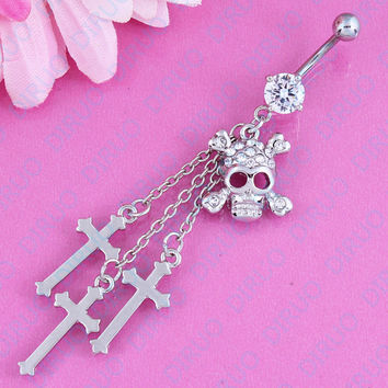Free Shipping Retail Skull belly Ring belly button ring  Skeleton navel bar 14G Surgical Steel Piercing Fashion Jewelry