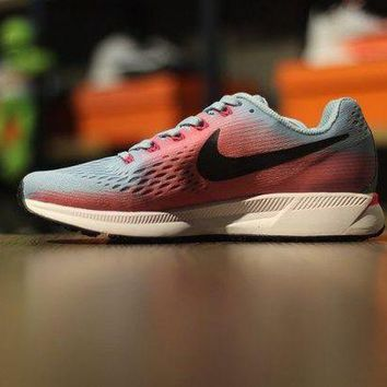 VONE05A Contracted Nike Air Zoom Pegasus 34 Grey Pink  Women's Running Shoes