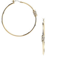Jessica Simpson Rondele Station Hoop Earrings - Crystal/Silver