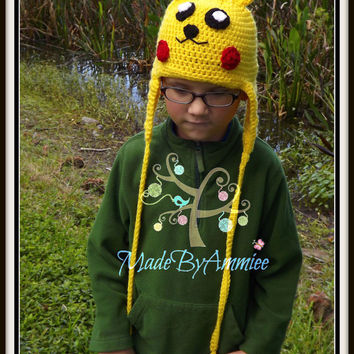 Crochet Picachu Inspired Hat, Pokemon Inspired Cap, Character Beanie, Geek Chic Hat