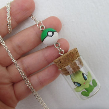 Pokémon Necklace - CELEBI & POKEBALL- Bandai Toy in a Bottle - Gamer Gear