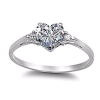 Cassie: 0.81ct Heart-cut Ice on Fire CZ Promise Friendship Engagement Ring 925 Silver, 3135 sz 6.5